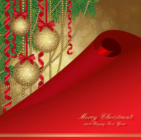 Christmas card with fir tree and gold balls.