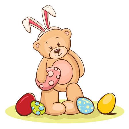 Ilustración de Illustration of cute teddy bear with Easter egg  - Imagen libre de derechos