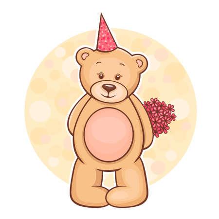 Ilustración de Illustration of cute Teddy Bear with flowers  - Imagen libre de derechos