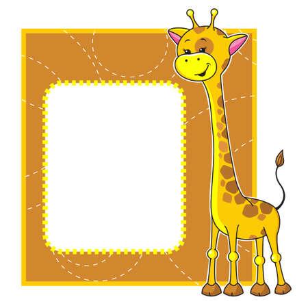 Cute cartoon frame with little giraffe