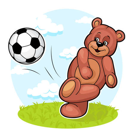 Illustration pour Cute cartoon vector illustration of Teddy Bear is kicking a soccer ball up into the air  - image libre de droit