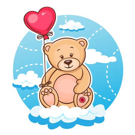 Ilustración de Illustration Of Cute Valentine Teddy Bear With Red Heart Balloon  - Imagen libre de derechos