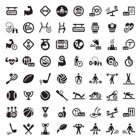 64 Fitness and Sport vector icons for web and mobile. All elements are grouped.のイラスト素材