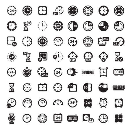 64 Clock Icon Set for web and mobile  All elements are grouped