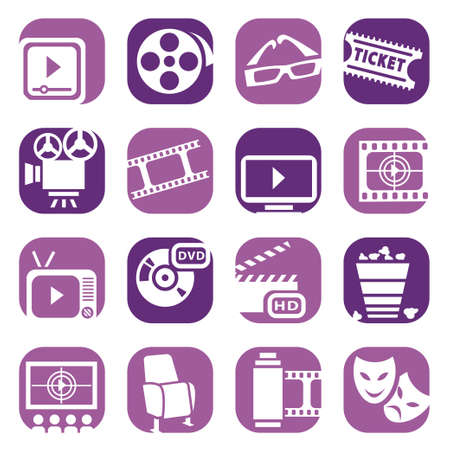 Color Cinema Icons Set Created For Mobile, Web And Applications