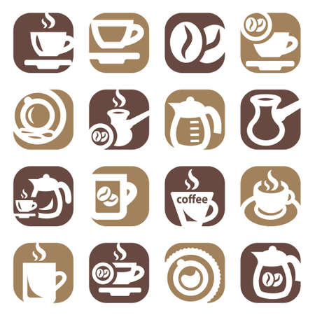 Color Coffee Icons Set Created For Mobile, Web And Applications