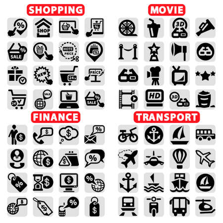 Elegant Vector Cinema, Shopping, Finance And Transportation Icons Set