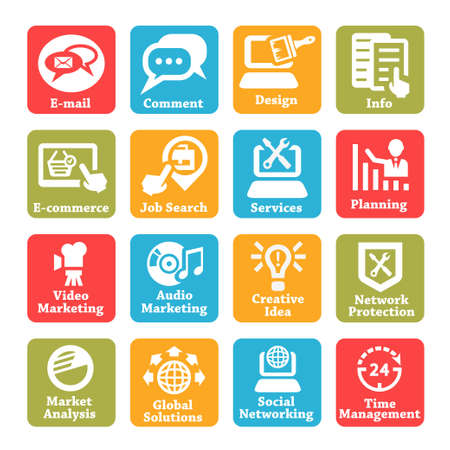 Color Seo And Internet Service Icons Set For Web And Mobile