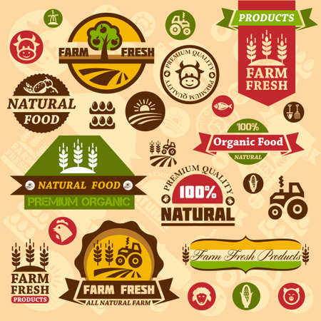 Farm fresh labels. Organic Farming isolated sign set.