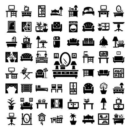 64 Elegant Vector Furniture Icons Set.