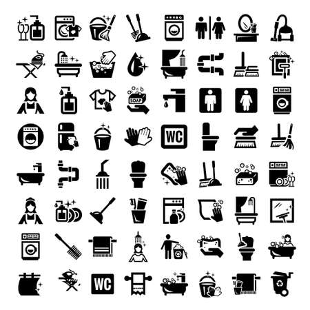 Illustration pour Big Elegant Vector Black Cleaning Icons Set  - image libre de droit