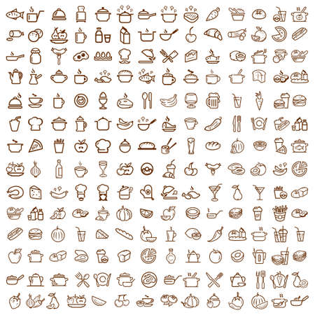 200 food and drink line icons set, vectors collection.