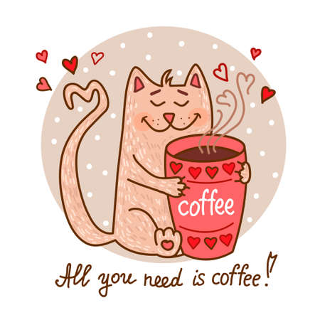 Illustration for Cute cartoon hand drawn cat with cup of coffee. Adorable vector clip art for your design. Isolated on wight. - Royalty Free Image