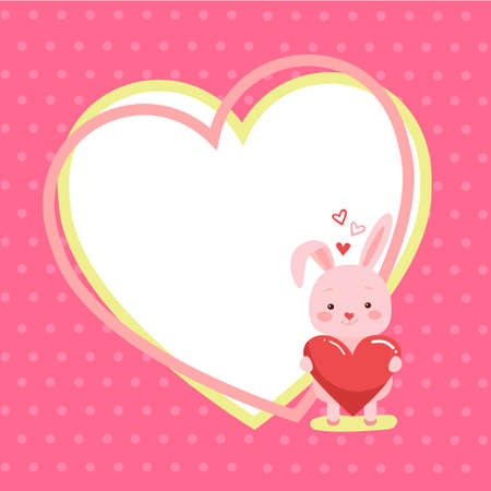 Photo pour Cute cartoon lovely rabbit with pink large heart and text will you be mine. Vector illustration for web, site, greeting card, valentines day poster - image libre de droit