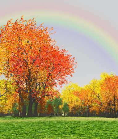 Photo pour Autumn scenery with rainbow - image libre de droit