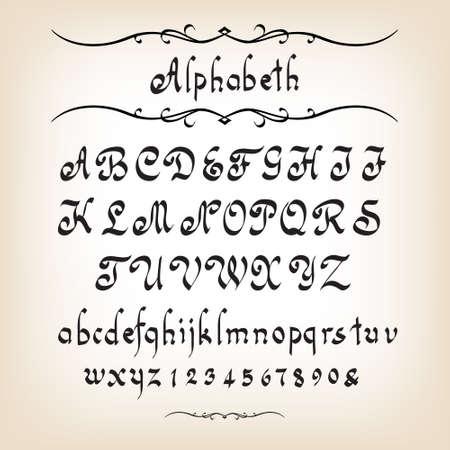 Illustration pour Calligraphic alphabet - image libre de droit
