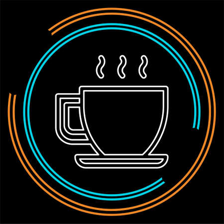 Illustration for coffee cup or mug icon, coffee vector - hot drink espresso. Thin line pictogram - outline stroke - Royalty Free Image