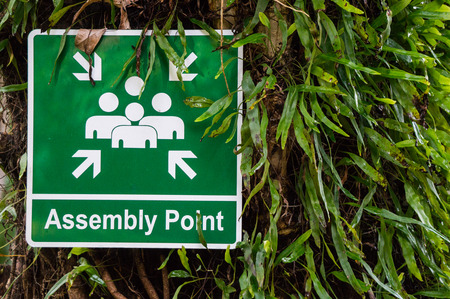 Assembly Point sign outside hotel