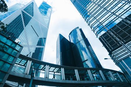 Photo pour skyscraper building in Hong Kong, city view in blue filter - image libre de droit