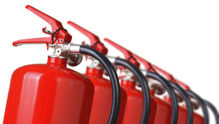 fire extinguishers close up isolated on white
