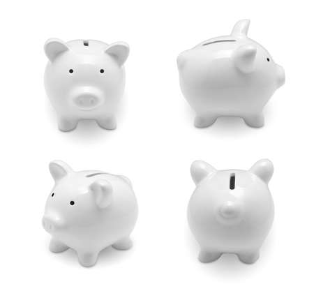 Set of piggy bank isolated on white background