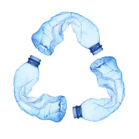 Photo for Recycle symbol made of used plastic bottles - Royalty Free Image