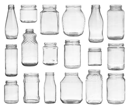 Collection of empty jars isolated on white background