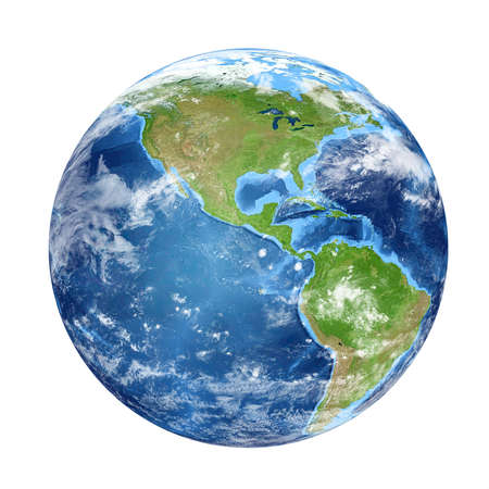 Foto de Planet Earth from space showing North & South America, USA. World isolated on white background. Elements of this image furnished by NASA - Imagen libre de derechos