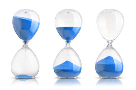 Photo pour Collection of hourglasses on white background - image libre de droit