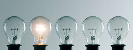 Photo for Row of light bulbs. Idea concept - Royalty Free Image