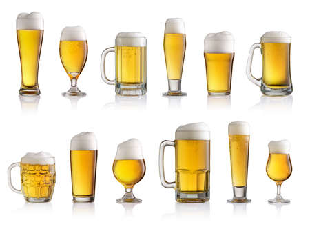 Foto de Collection of different glasses of beer isolated on white background - Imagen libre de derechos