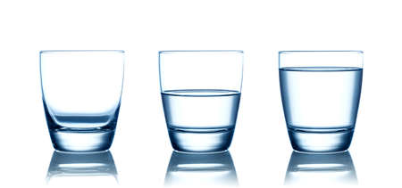 Photo pour Empty,half and full water glasses . Isolated on white - image libre de droit