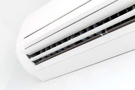 Closeup white air conditioner in room