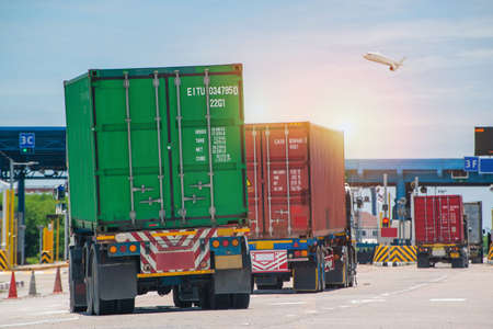 Photo for Container delivery by truck to gate in to container yard for export, logistic import export and transport industry background - Royalty Free Image