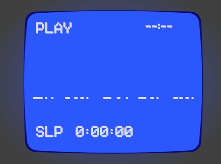 VHS blue intro screen of a videotape player