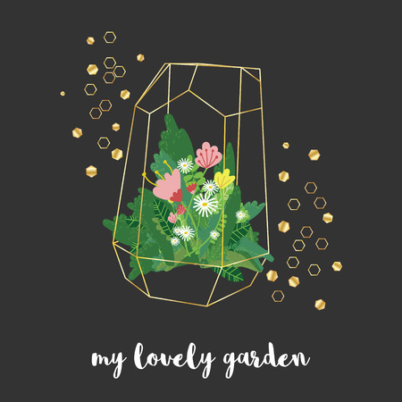 Vector golden geometric florarium vase with different plants and flowers surrounded by golden shiny hexagons. My lovely garden phrase. Gardening concept. Black background