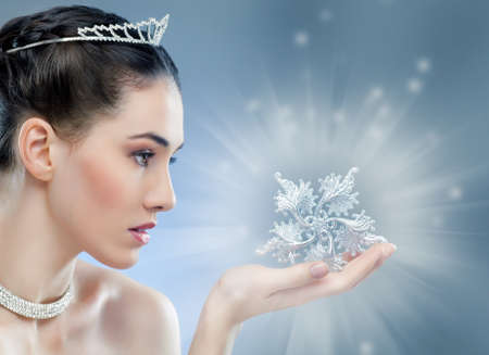 snow Queen with a crownの写真素材