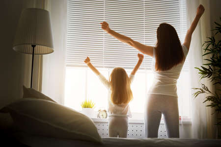 Photo for mother and daughter enjoying sunny morning - Royalty Free Image