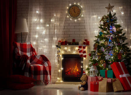 A beautiful living room decorated for Christmas.