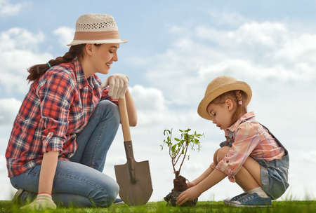 Foto de Mom and her child girl plant sapling tree. Spring concept, nature and care. - Imagen libre de derechos