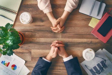 Photo pour Man and woman working in the office. Collaborative teamwork. - image libre de droit