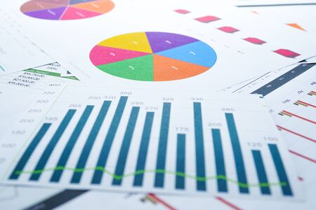 Photo pour Charts Graphs spreadsheet paper. Financial development, Banking Account, Statistics, Investment Analytic research data economy, Stock exchange Business office company meeting concept. - image libre de droit