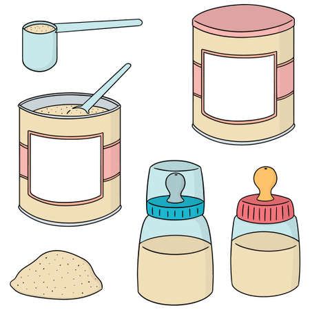 Vektor für vector set of milk powder on white background. - Lizenzfreies Bild