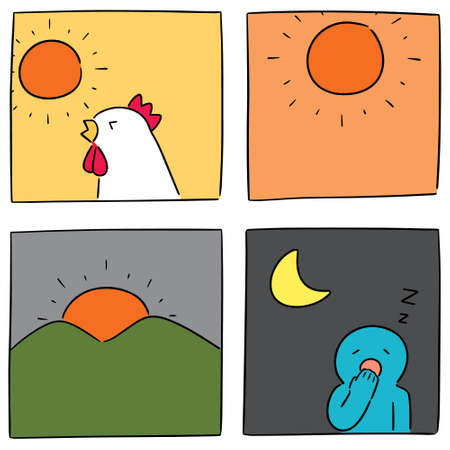 Illustration pour vector set of time of the day - image libre de droit