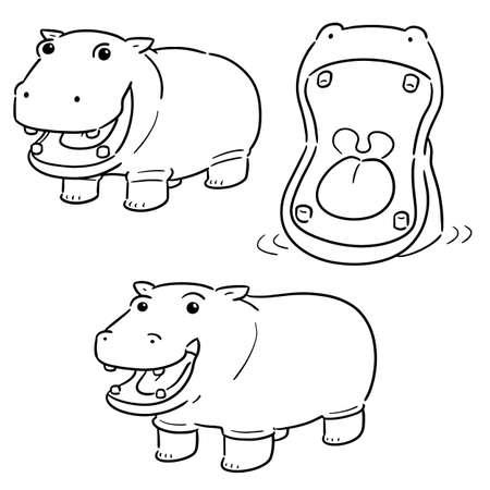 Ilustración de vector set of hippopotamus - Imagen libre de derechos