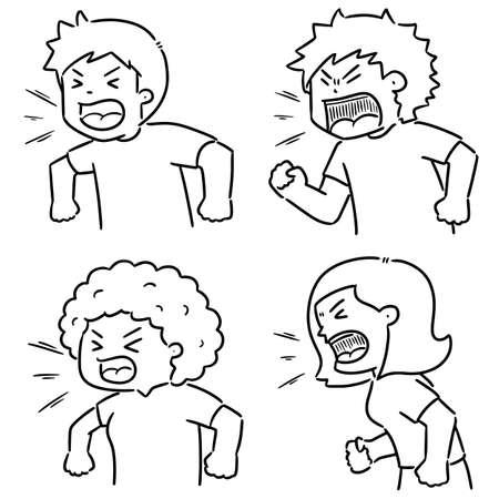 Illustration pour vector set of shouting people - image libre de droit