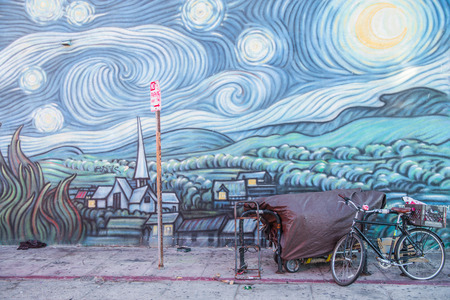 LOS ANGELES, CA - OCTOBER 11th,  2015: Mural Homage to a Starry Night by Rip Cronk, located in Venice, a beachfront district on the Westside of Los Angeles, California