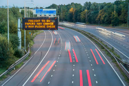 Photo for Brexit Freight UK Motorway Signage With Blurred Vehicles - Royalty Free Image