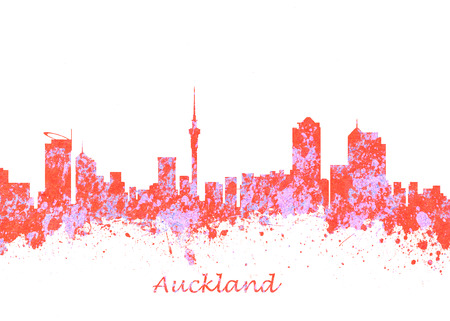 Watercolor art print of the Skyline of Auckland New Zealand