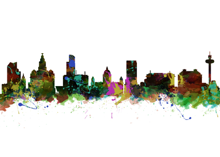Watercolor art print of the Skyline of Liverpool